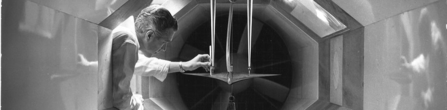 Researcher in windtunnel