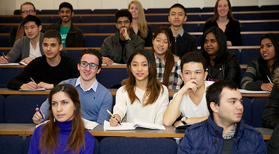 A group of students in a lecture theatre