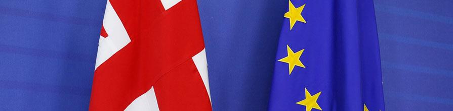 EU and UK flags hanging