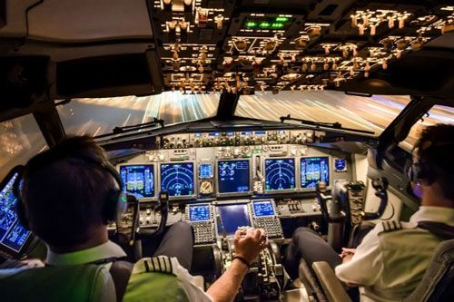 Avionics training inside a cockpit
