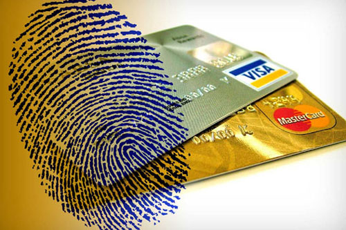 Credit Card Fraud: Visa and Master cards with a thumbprint