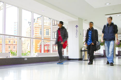 Students walking through the college building at City University London