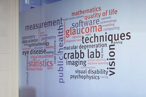 Word cloud on the Crabb Lab wall at City in the Tait building