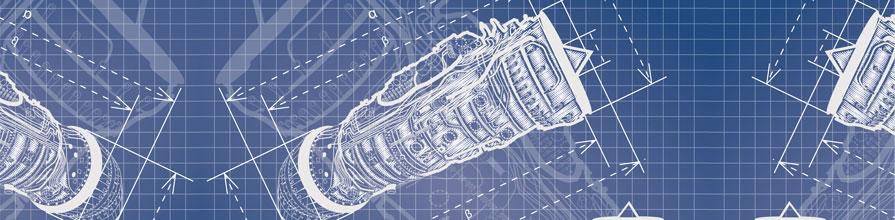 Blueprint of aircraft engine