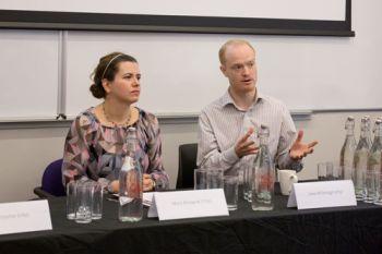 Luke McDonagh and Mara Malagodi speaking at the Dominion Constitutionalism City workshop