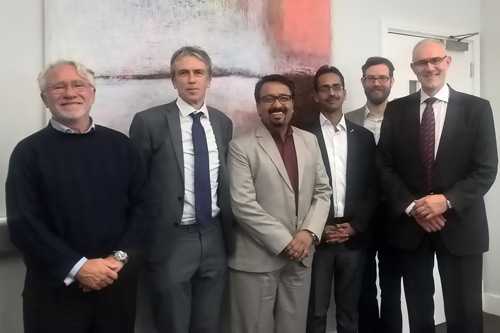 Professor Nicola Stosic; Professor Roger Crouch; VP Kirloskar Pneumatics Nandurkar Mahesh; R&D Manager Kirloskar Pneumatics Pradeep Deore; a PhD student; and Professor Ahmed Kovacevic