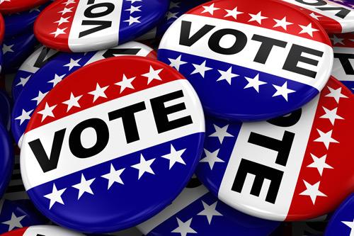 Vote badges with the US flag. Inderjeet palmar cometns on the 2016 US Election