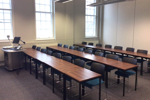A108, College building, Three rows of eight chairs and desks