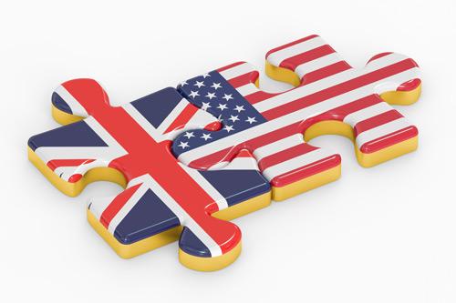 UK and USA jigsaw pieces. Trade