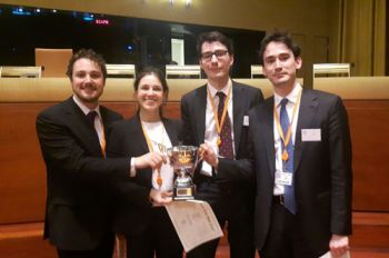 Mooting winners Margherita, Ben, Miguel and Douglas
