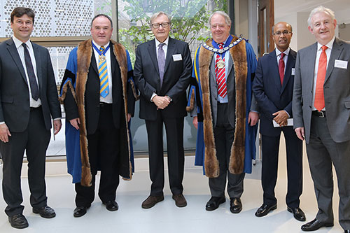 Edwards lecture: Nobel prize winner Professor Carlo Rubbia, Professor Sanowar Khan, Professor Ken Grattan and members of the Worshipful Company of Scientific Instrument Makers