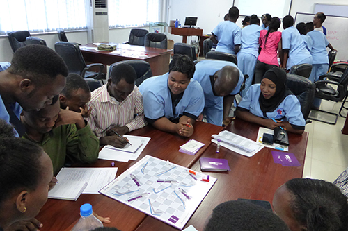 Nurses at Beira Hospital in Mozambique use the Drug Round game