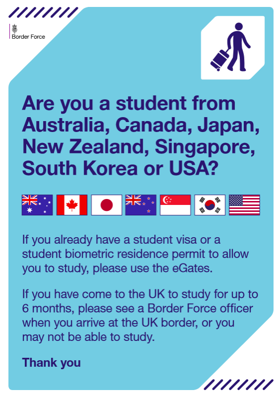 Poster from Border Force about use of eGates