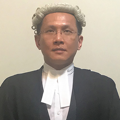 Dr Chee Ching Chan wearing a barrister wig