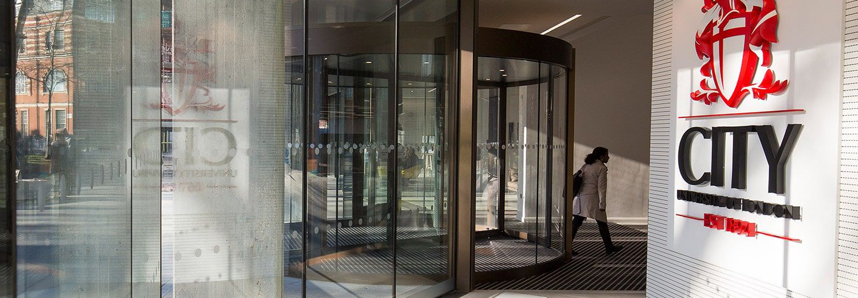 Glass foyer entrance of Northampton Square