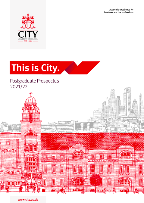 Cover of the postgraduate prospectus for 2021/22 academic year