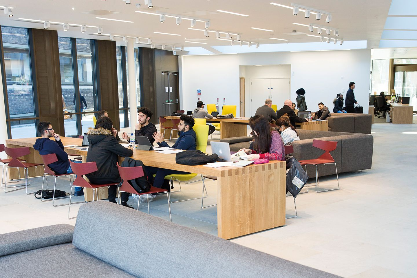 Students in the study lounge area