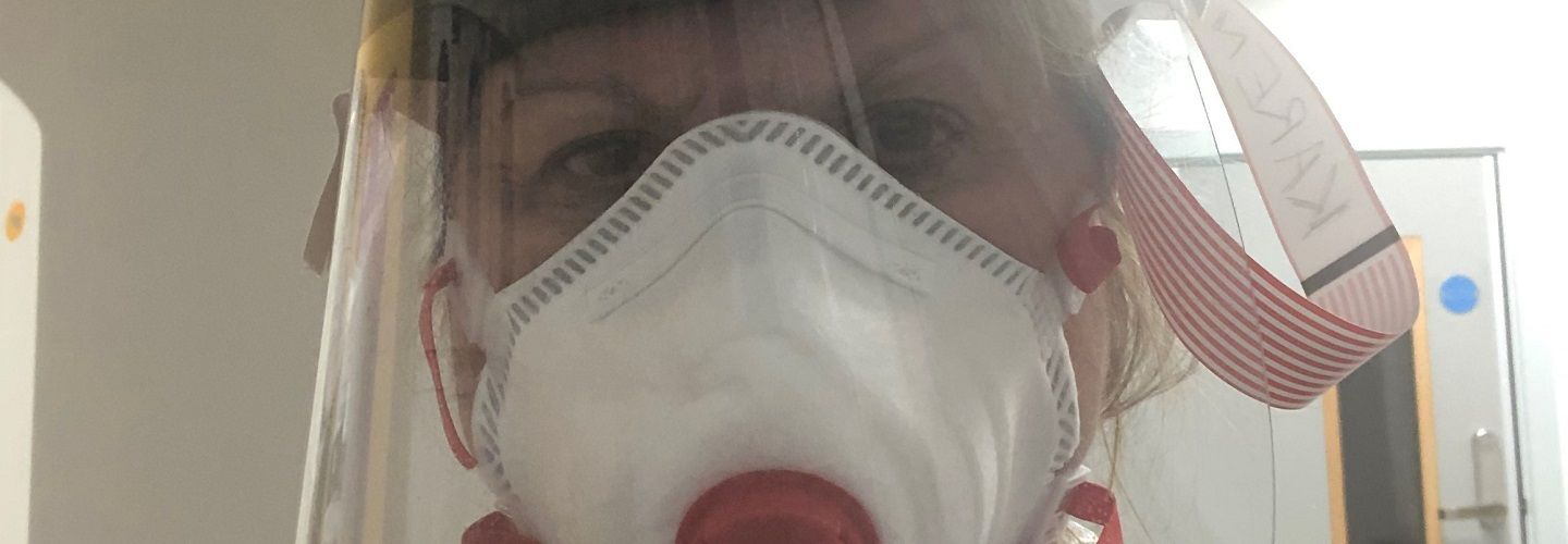 Karen Chandler, Lead, Division of Nursing at City, University of London wearing PPE (Personal Protective Equipment)