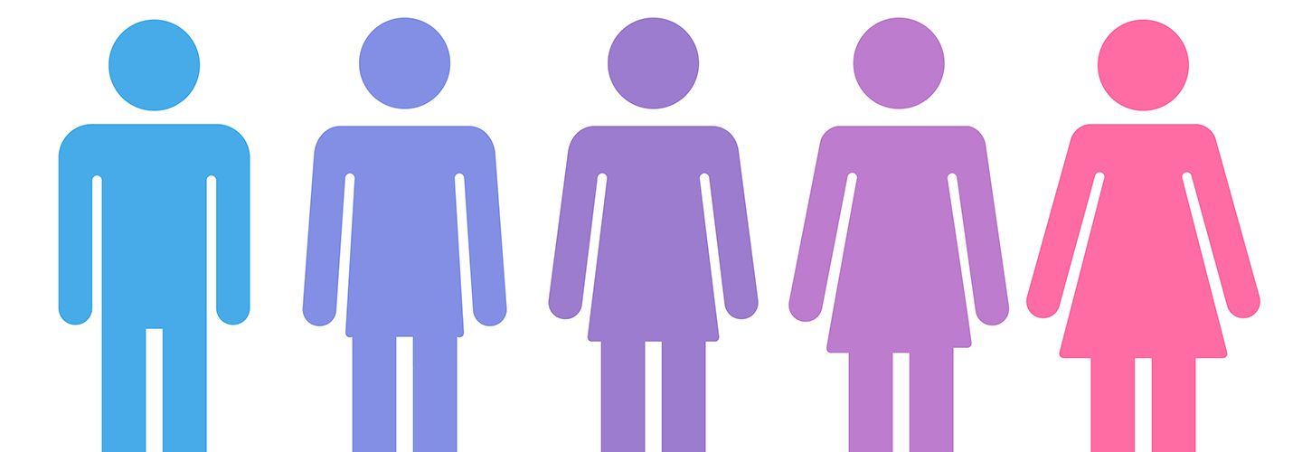 Transition process of gender icons from male to female, from blue through purple to pink.
