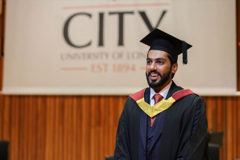 Abdul Qudoos Sohal (LLB Law 2020), in his gown at graduation