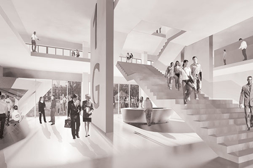 Visualisation of a new space on the lower ground levels of the Drysdale and University Buildings