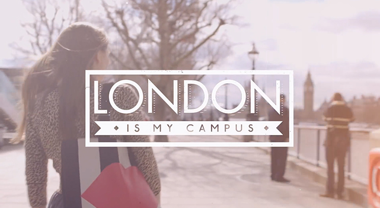 'London is my campus' logo on Thames backdrop