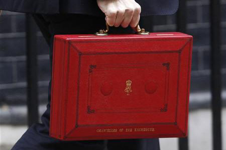 Hand holding a ministerial box (chancellor of the exchequer red briefcase)