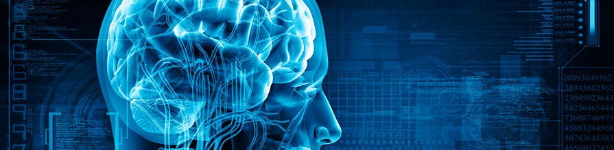 Computer generated image of a person's brain imposed on a computing concept background