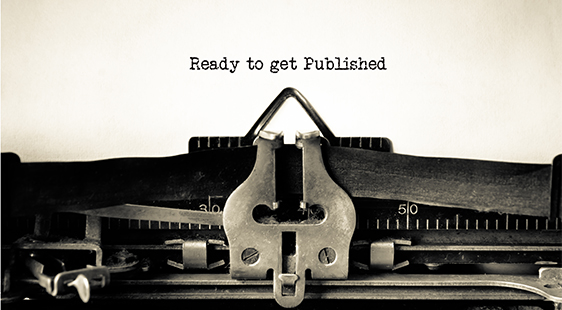 Typewriter ribbon text reading: Ready to get Published