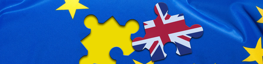 Brexit: British flag cut out in a jigsaw shape from the EU flag