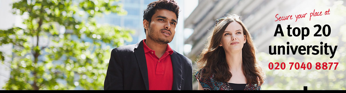 Two students at City - Secure your place at a top 20 university in Clearing 2016 - 020 7040 8877