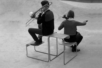 Two New Duo, cellist Ellen Fallowfield and trombonist Stephen Menotti.