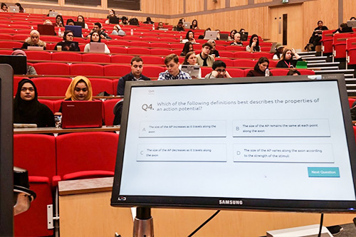 Computer screen in the oliver thompson lecture theatre 'Q4. Which of the following definitions best describes the properties of an action potential?