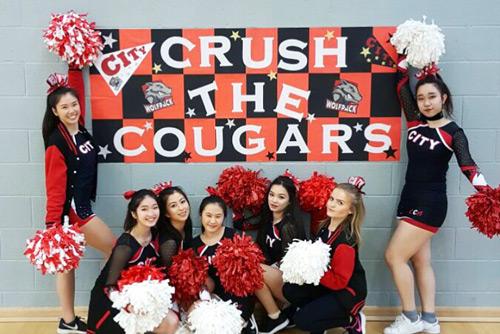 City cheerleaders at the Varsity event