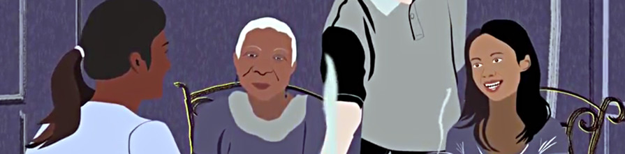Young man serving dinner to older family. Screenshot from animation