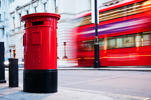 Post box and London bus