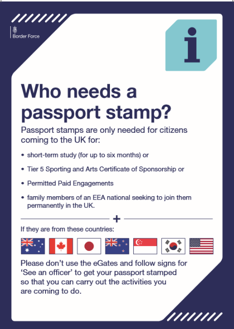 Poster from Border Force about passport stamps