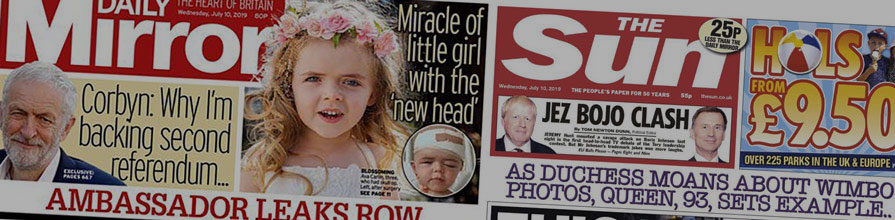 Sun and Mirror newspaper front covers