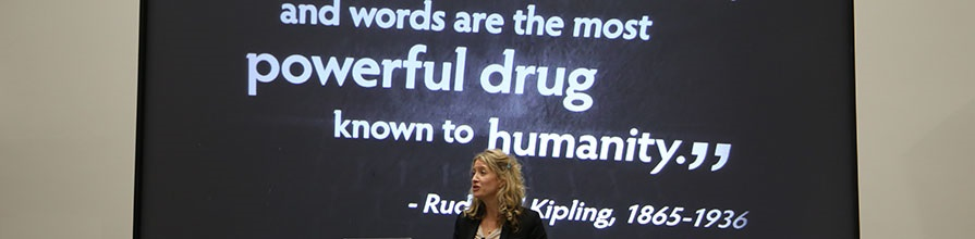Professor Rose McCabe introducing her lecture: Words are the most powerful drug