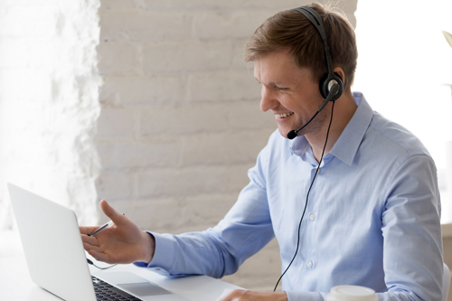 man on conference call from home
