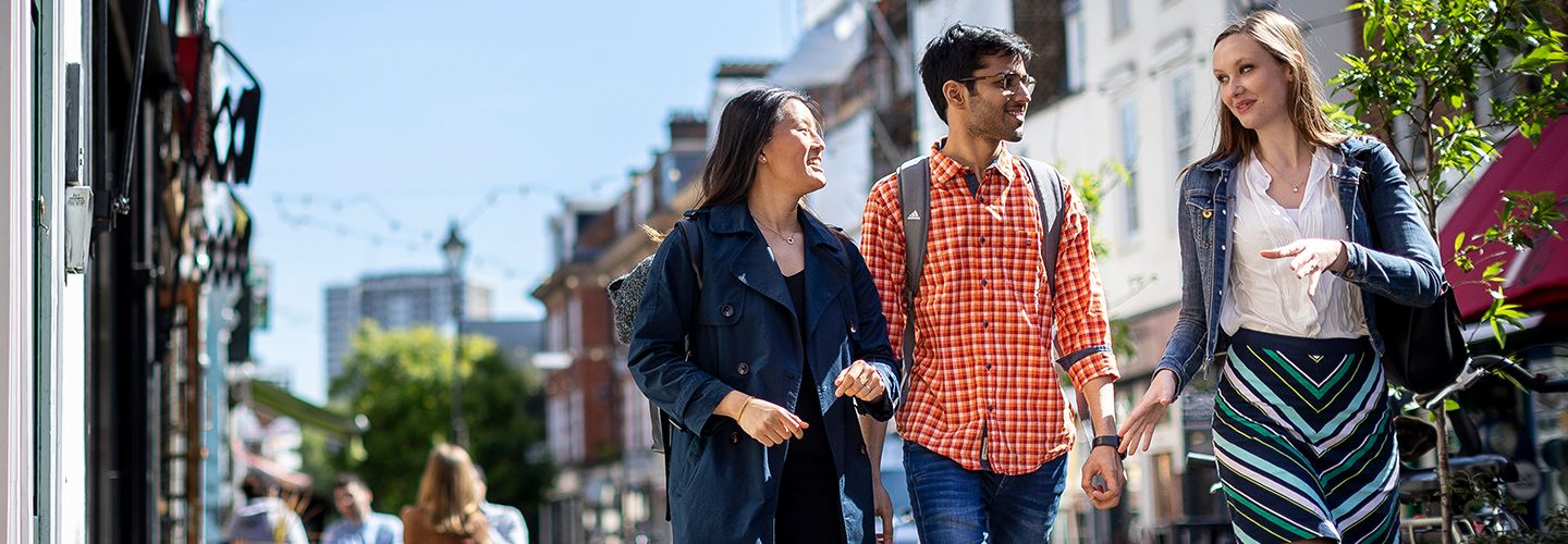 Postgraduate students walking together down Exmouth Market