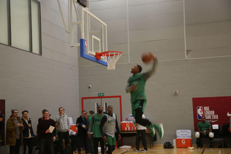 Celtics player dunking