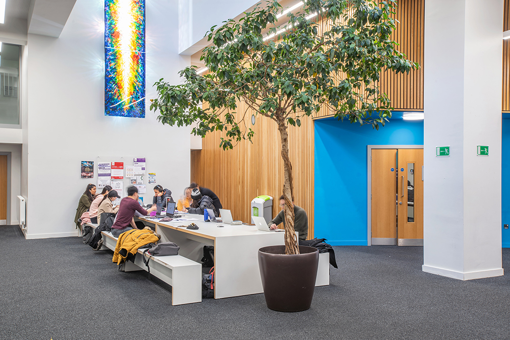Students in Drysdale study space