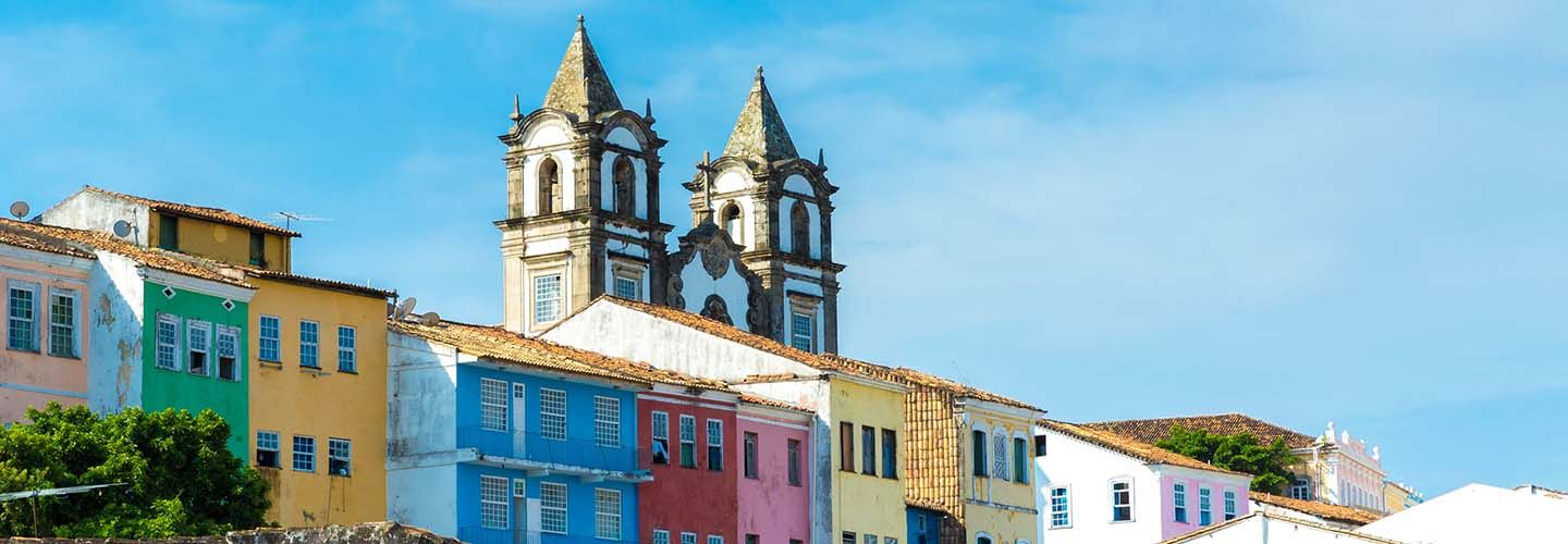 Colourful houses and a church in Salvador, Brazil