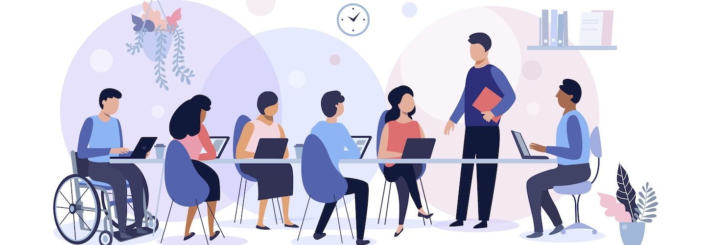 illustration of a group of people working in an office