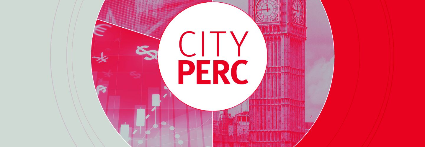 Red and grey CityPERC banner, with the Big Ben clock tower and icons representing currency and graphs in a central circle.