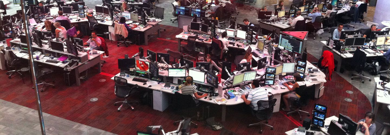 A TV news room