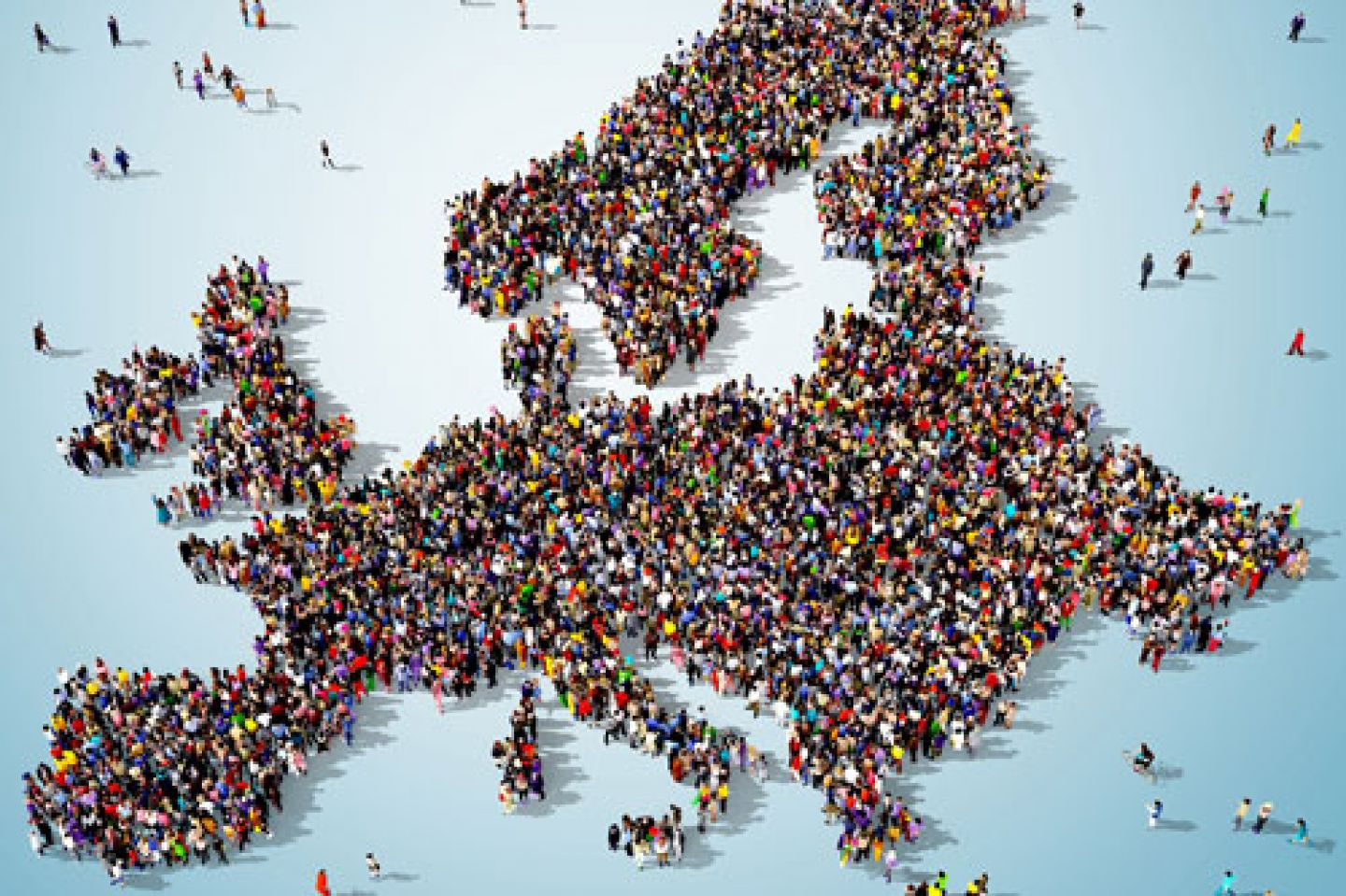 Map of Europe made up of CGI people