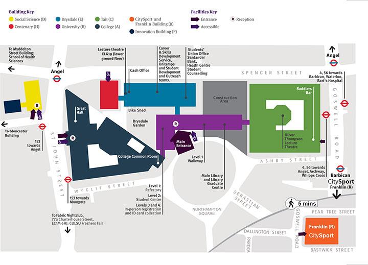 City University Map City, University of London City University Map