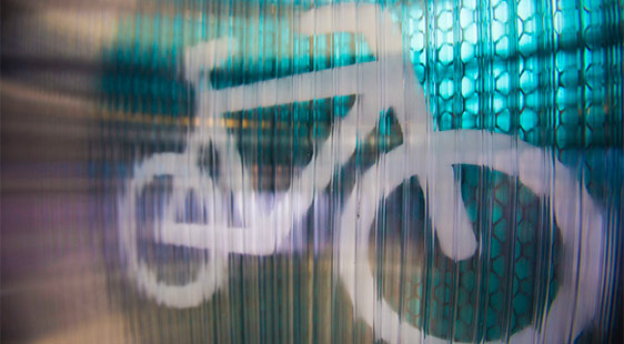 A simple painting of a bicycle using spray paint